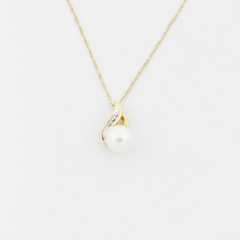 "10k Yellow Gold Estate 18"" Pearl & Diamond Necklace"