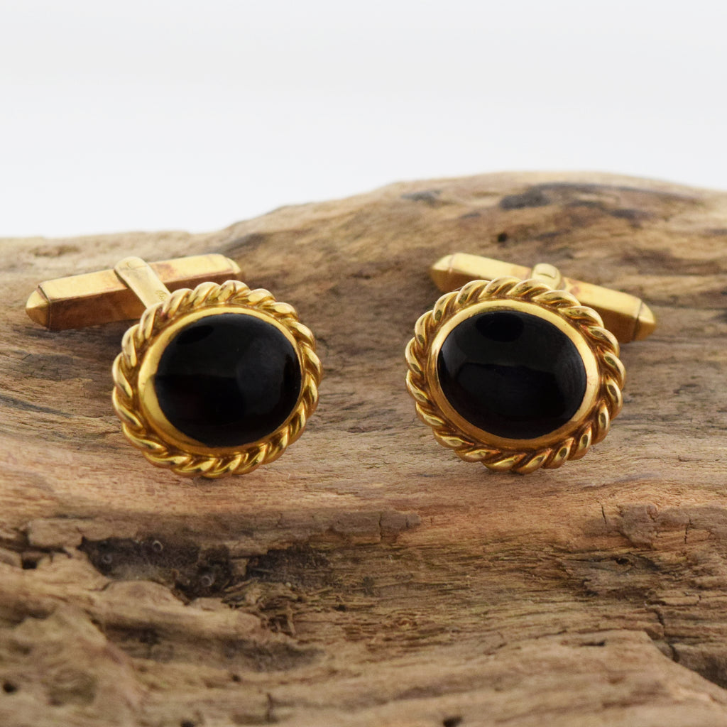9ct Yellow Gold Estate Cabochon Garnet Cufflinks