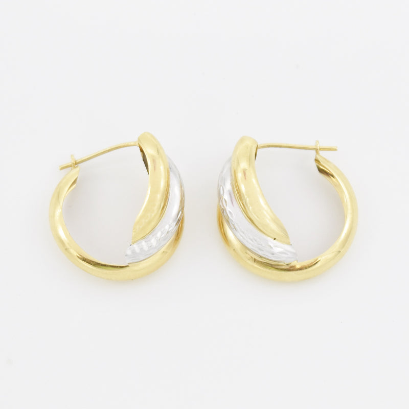 "14k Yellow & White Gold Swirl 3/4"" Hoop Earrings"