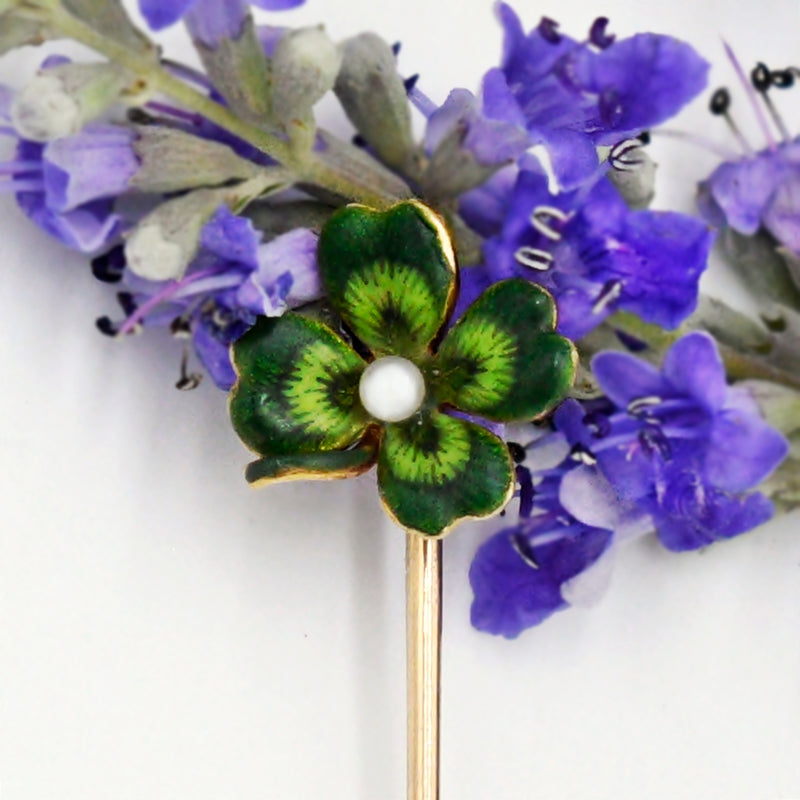 14k Yellow Gold Antique Green Enamel Pearl 2.2 mm Stick Pin