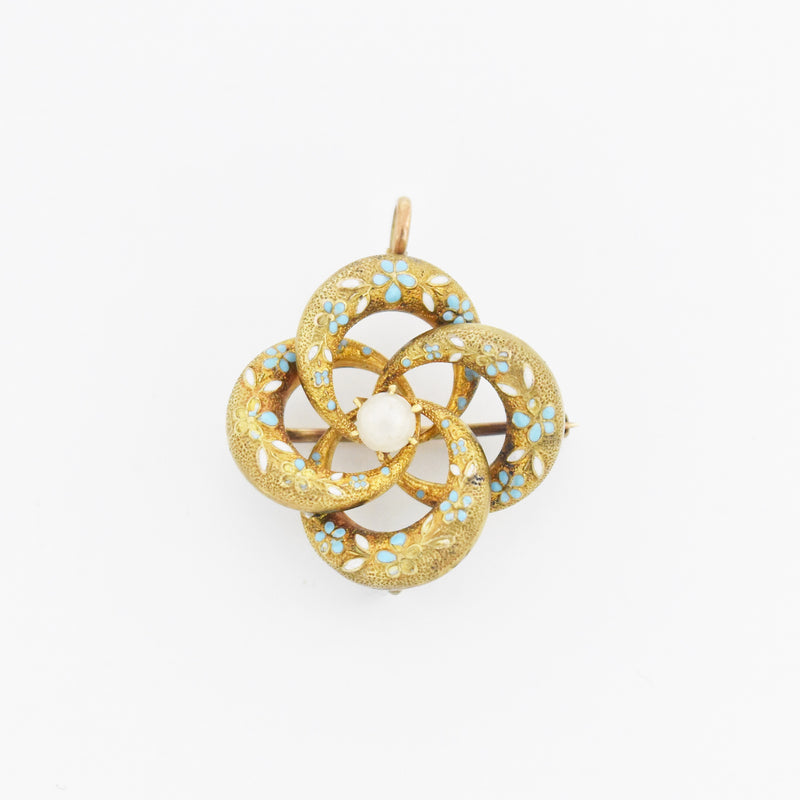 14k Yellow Gold Antique Enamel Pearl Love Knot Pin/ Pendant