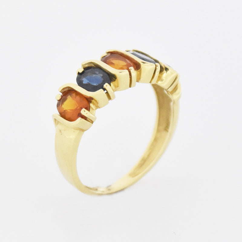 14k Yellow Gold Estate Citrine & Sapphire Band/Ring Size 9