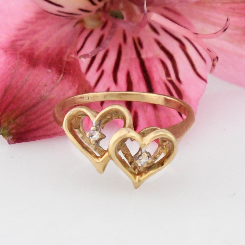 10k Yellow Gold Estate Double/Dual Heart Diamond Ring Size 5.75