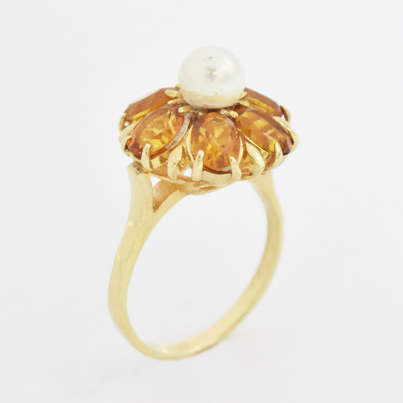 14k Yellow Gold Estate Citrine & Pearl Flower Ring Size 10
