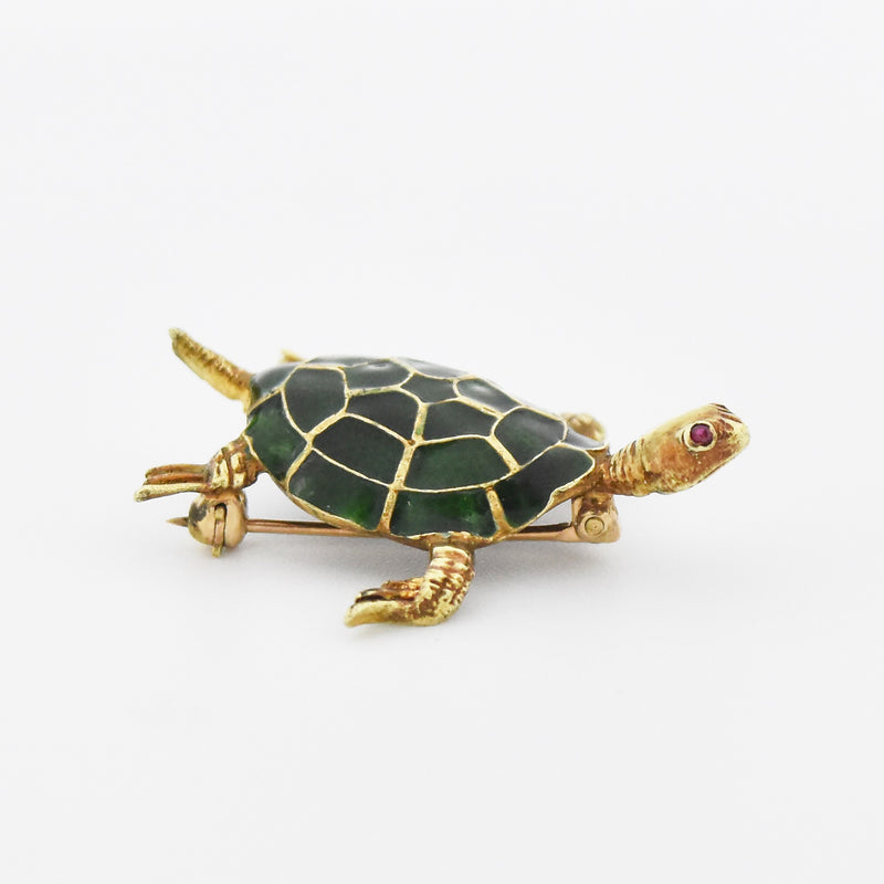 14k Yellow Gold Estate Green Enamel Ruby Eyes Turtle Pin