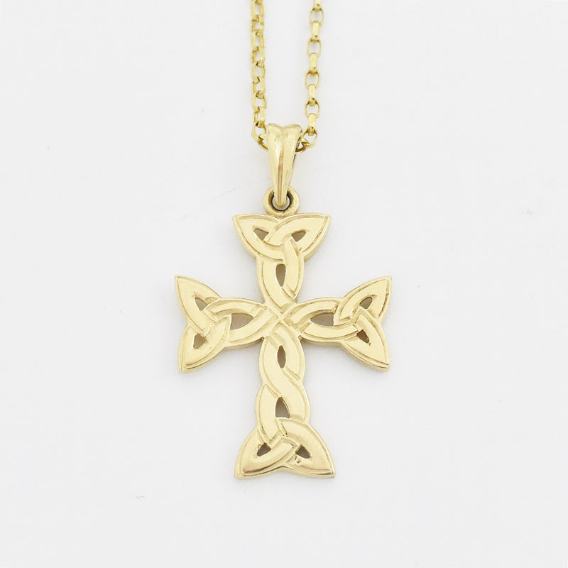 "10k Yellow Gold Estate Trinity Knot Celtic Cross 18"" Necklace"