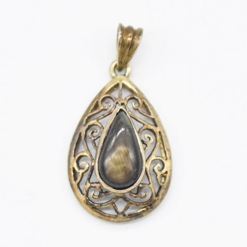 14k Yellow Gold Estate Teardrop/Pear Black Star Sapphire Pendant