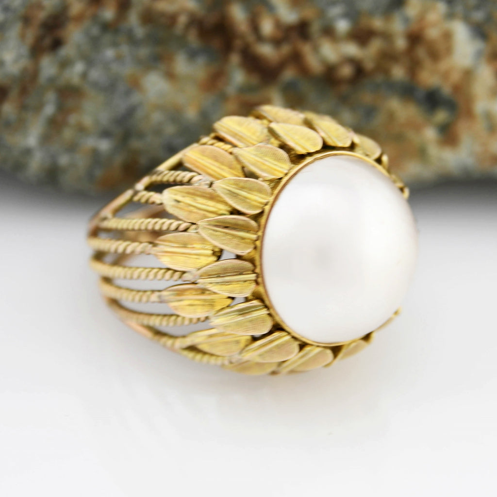 14k Yellow Gold Mid Century Modern Open Wrk Mabel Pearl Ring Size 4.25