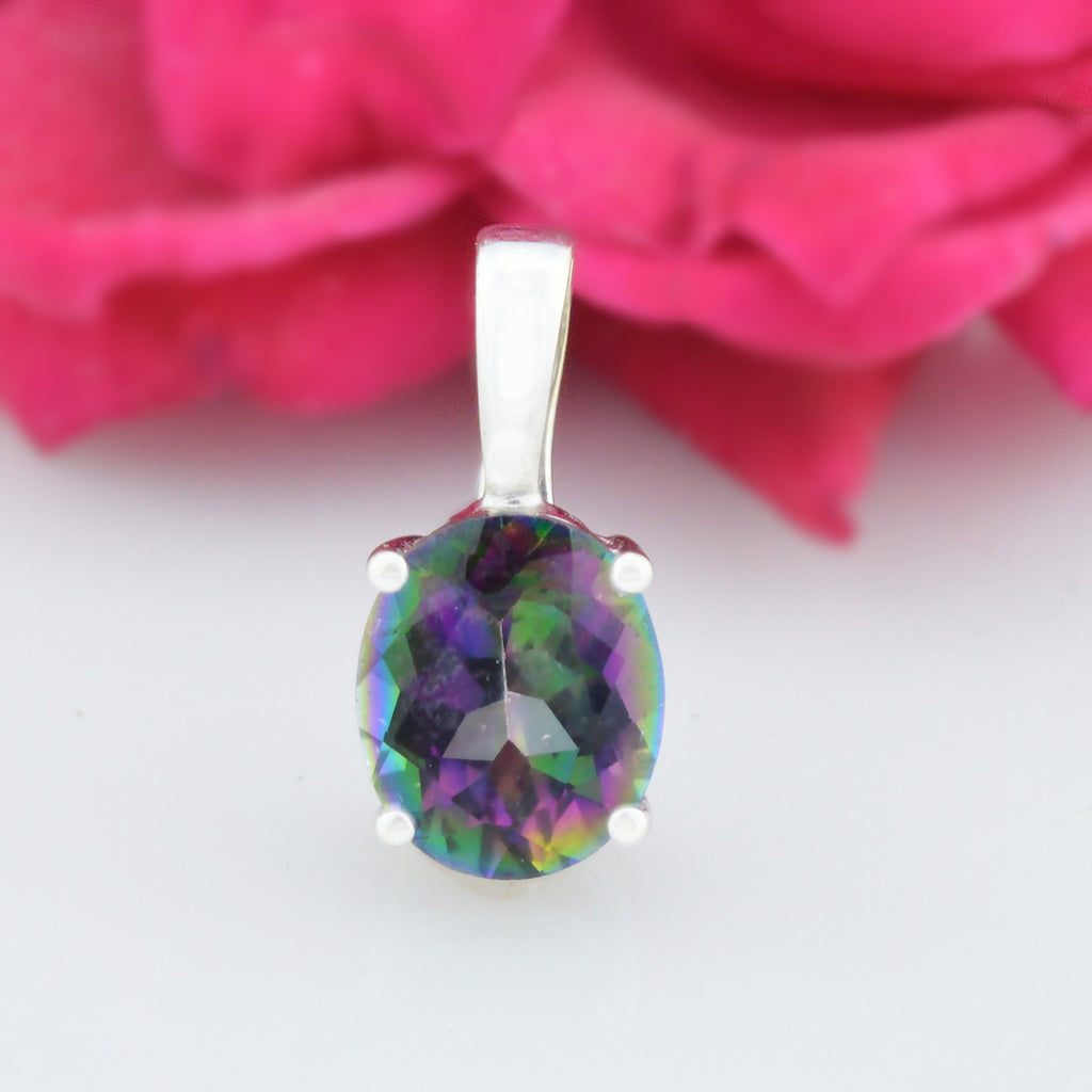 14k White Gold Estate Mystic Topaz Pendant