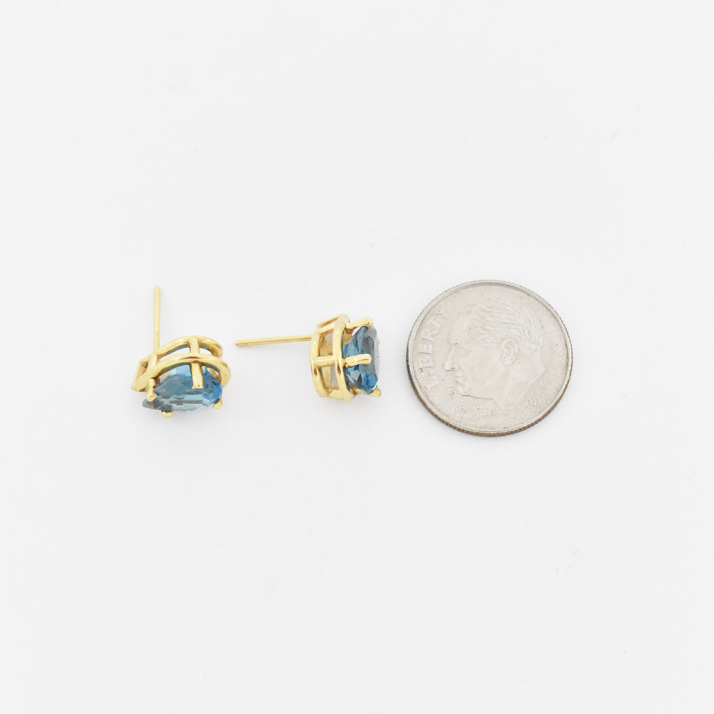 14k Yellow Gold Estate Teardrop/Pear Blue Topaz Post Earrings