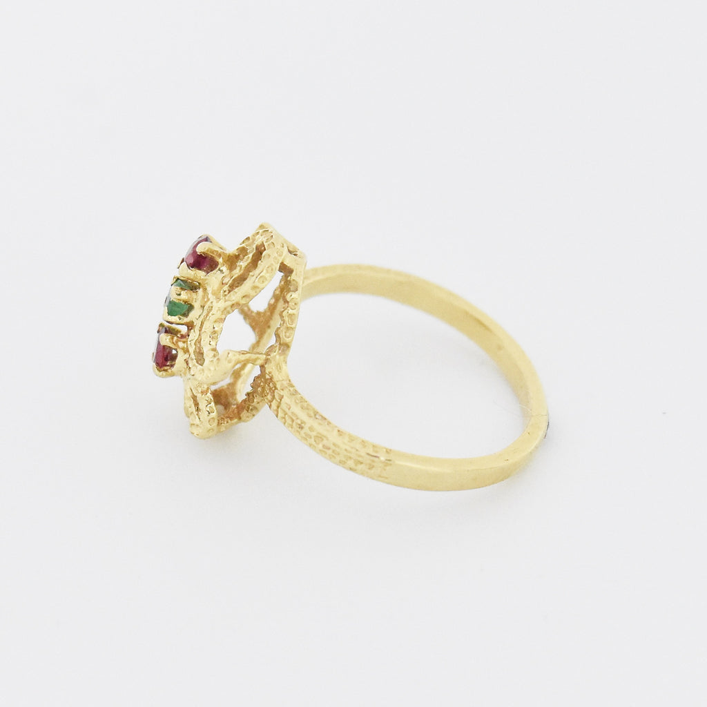 14k Yellow Gold Estate Open Swirl Ruby & Emerald Ring Size 7.5