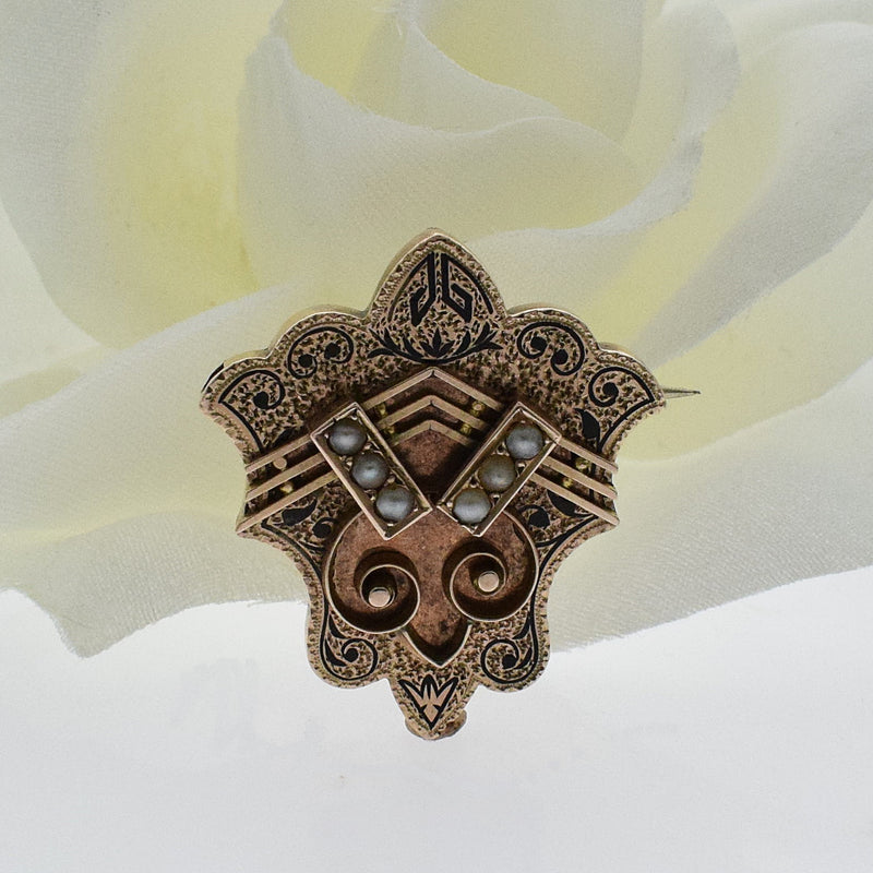 10k Yellow Gold Ornate Antique Black Enamel Pin/Pendant