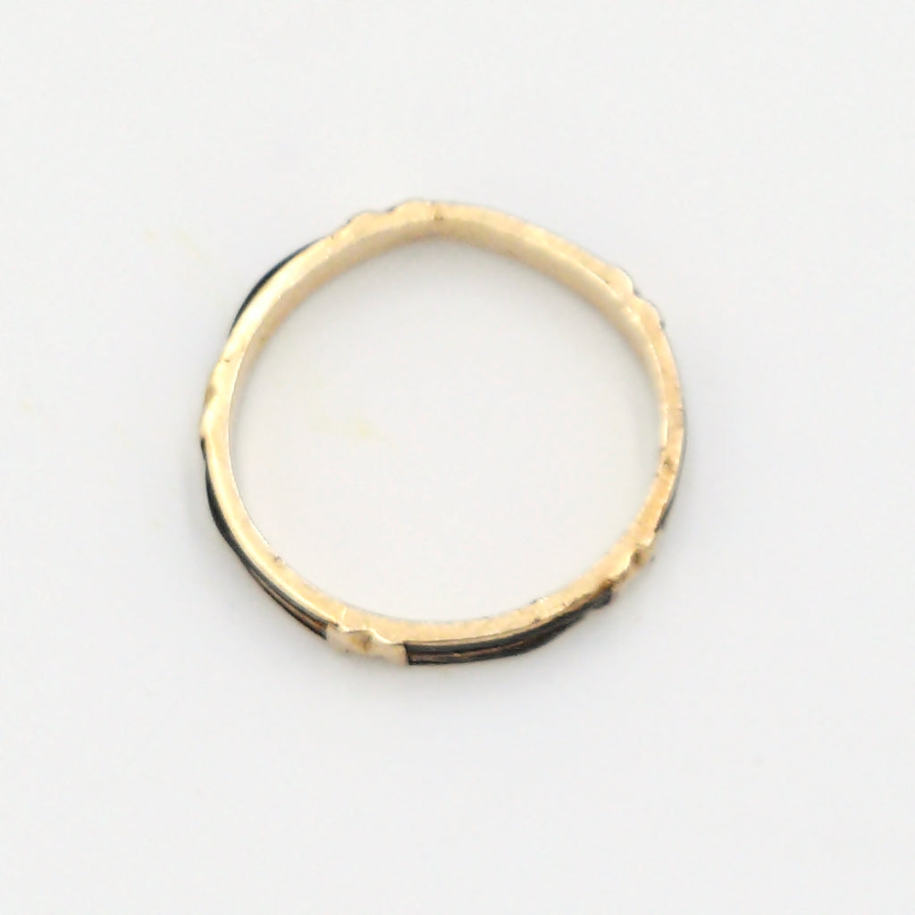 18k Yellow Gold Antique Hair Wedding Ring Size 6.75