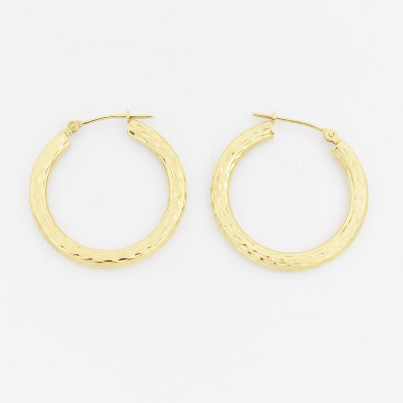 "14k Yellow Gold Estate 1"" Diamond Cut Hoop Earrings"