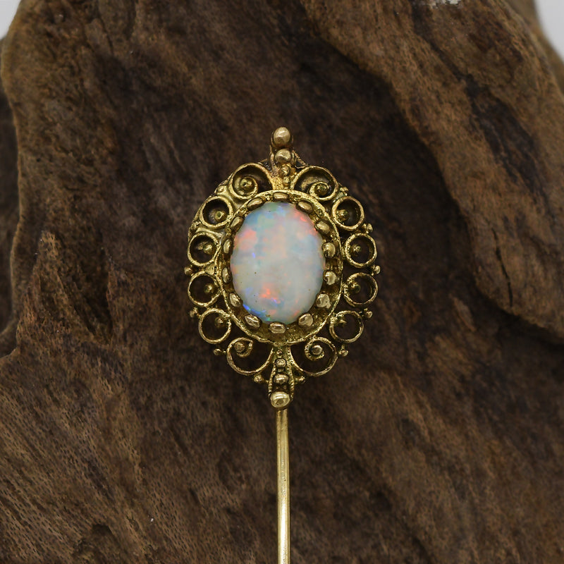10k Yellow Gold Antique Fire Opal Stick Pin