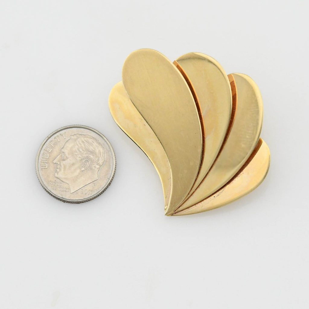 14k Yellow Gold Estate Mid Century Modern Layered Comma/Fan Pin/Brooch