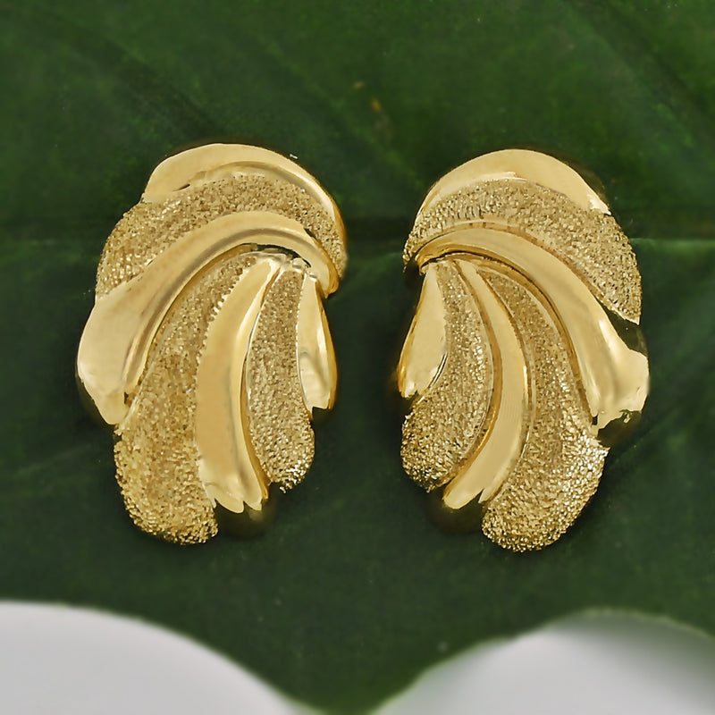 14k Yellow Gold BEVERLY HILLS GOLD Textured Swirl Post Earrings
