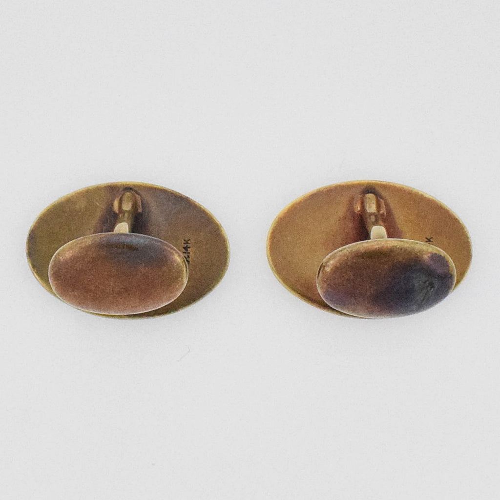 14k YG Antique Enamel Cuff links