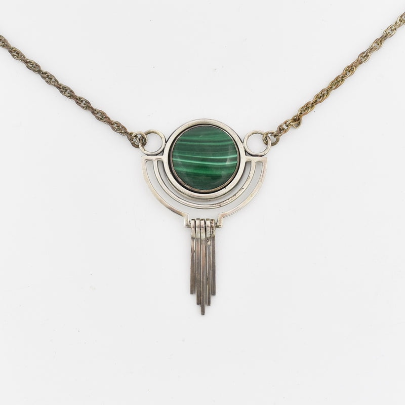 Sterling Silver 925 Lutz Mid Century Modern Malachite Fringe Necklace