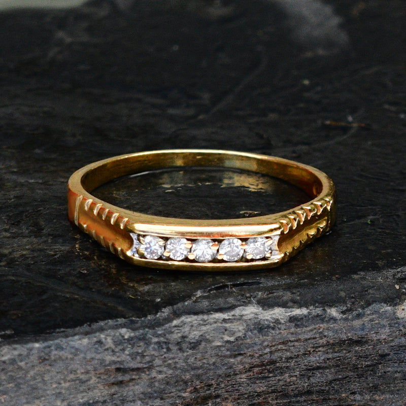 18k Yellow Gold Estate Textured Diamond Band/Ring Size 9.75