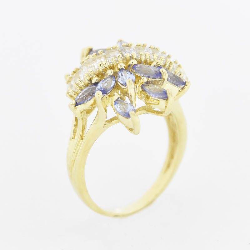 10k Yellow Gold Tanzanite & White Sapphire Cocktail Ring Size 7.25