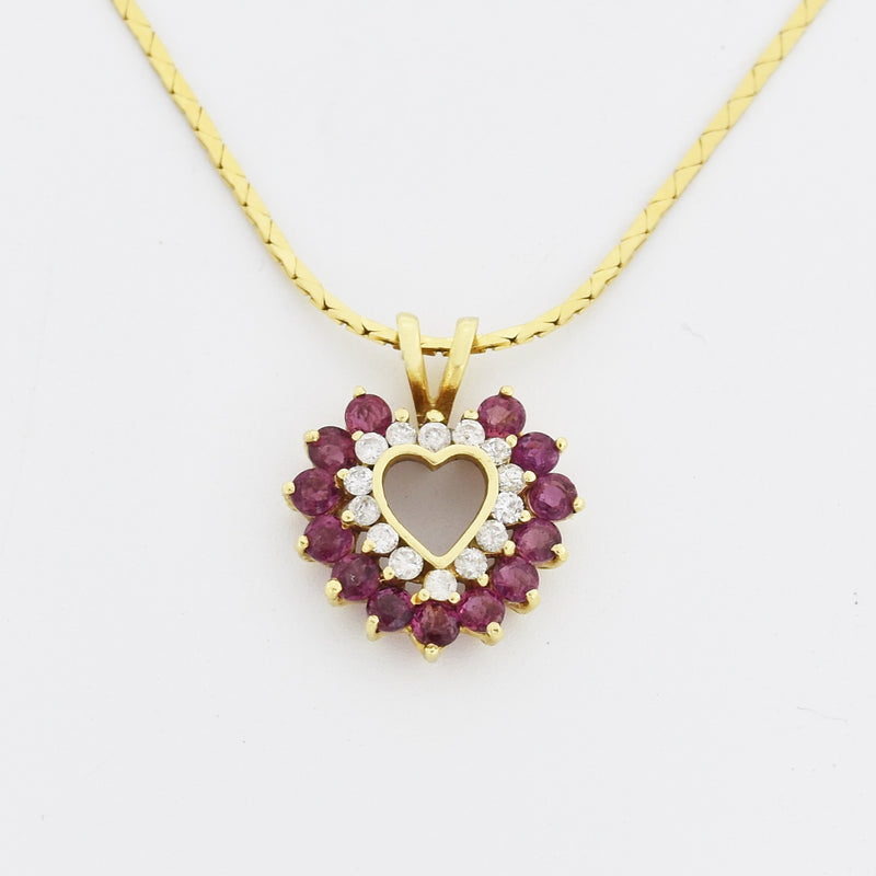"14k Yellow Gold Estate Open Ruby & Diamond Heart 18"" Necklace"