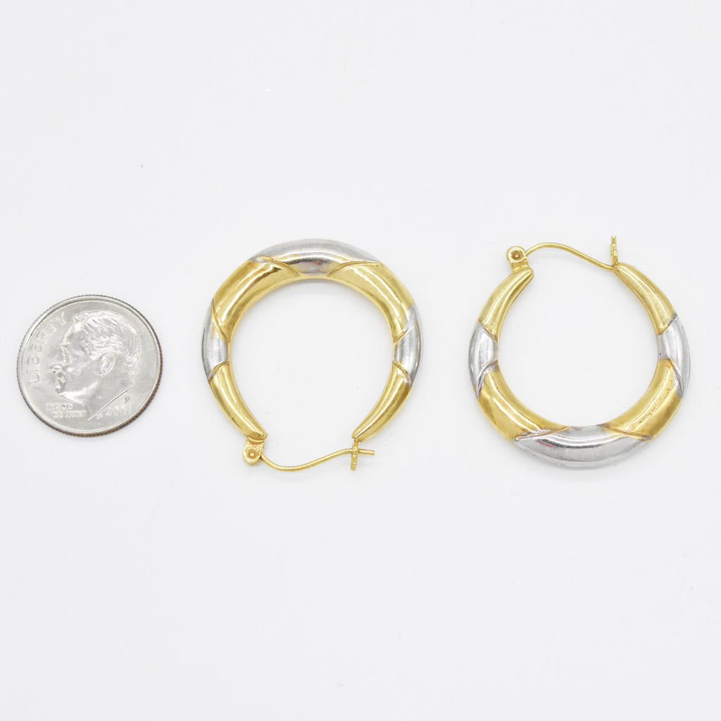 "14k Yellow & White Gold Estate Textured 1"" Hoop Earrings"