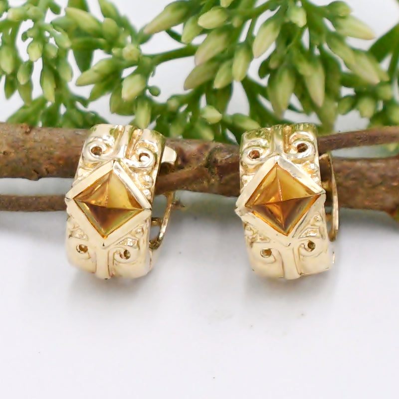 14k Yellow Gold Estate Ornate Pyramid Citrine Huggies/Huggie Earrings