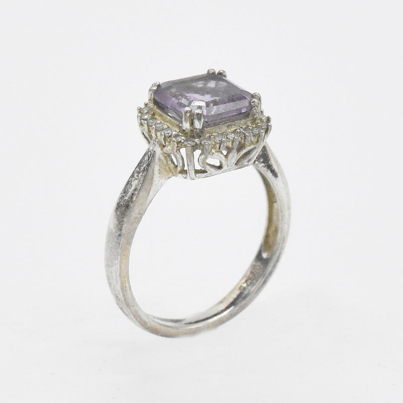 Sterling Silver 925 Estate Amethyst & Diamond Ring Size 7