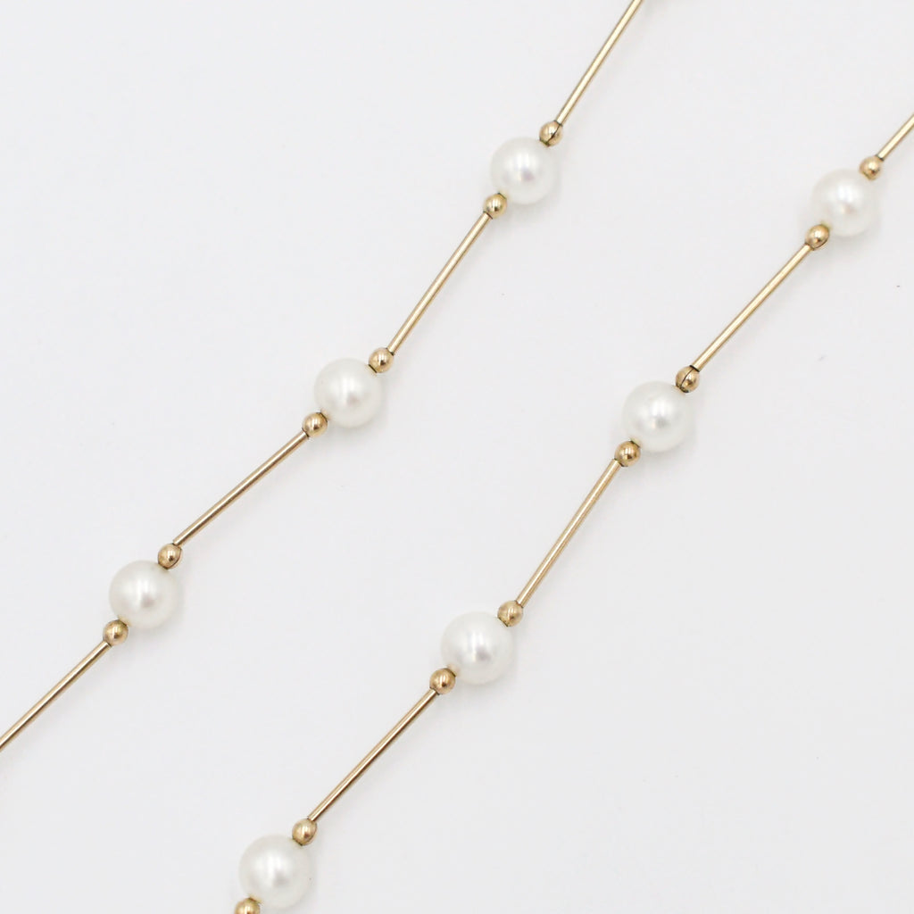 "14k Yellow Gold Estate Choker Pearl 5.7 mm Necklace 15 3/4"" Long"