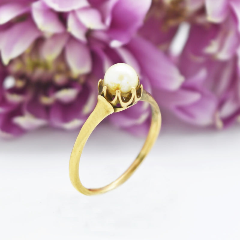10k Yellow Gold Vintage Pearl Ring Size 7.5