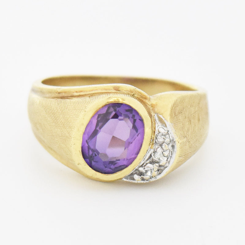 10k Yellow Gold Estate Amethyst & Diamond Cocktail Ring Size 9.25