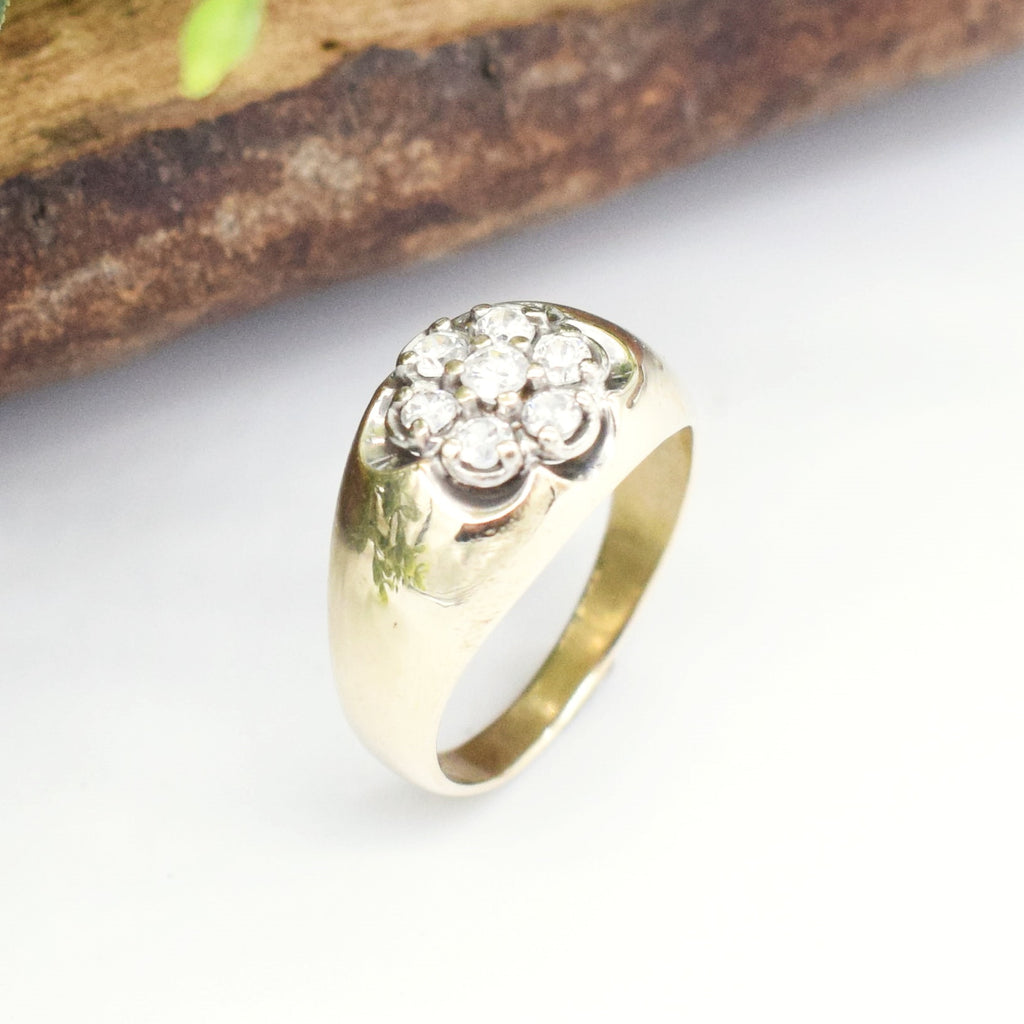 10k Yellow Gold Vintage CZ Cluster Ring Size 8.25