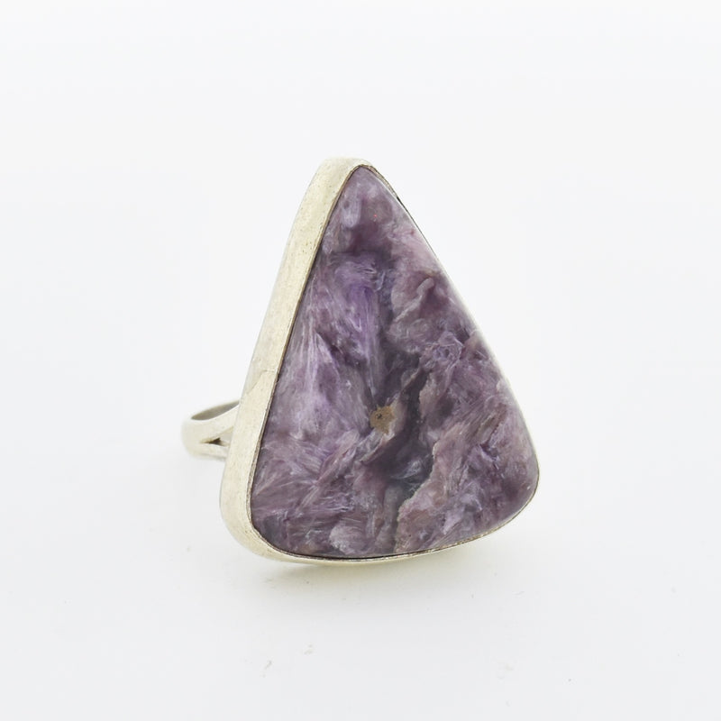 Sterling Silver 925 Triangle Lepidolite Stone Ring Size 8.75
