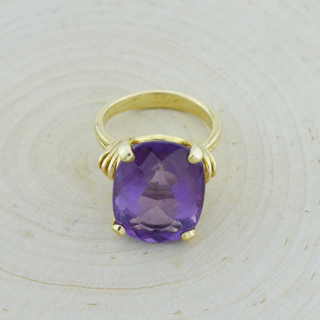 14k Yellow Gold Estate Large Amethyst Solitaire Ring Size 9