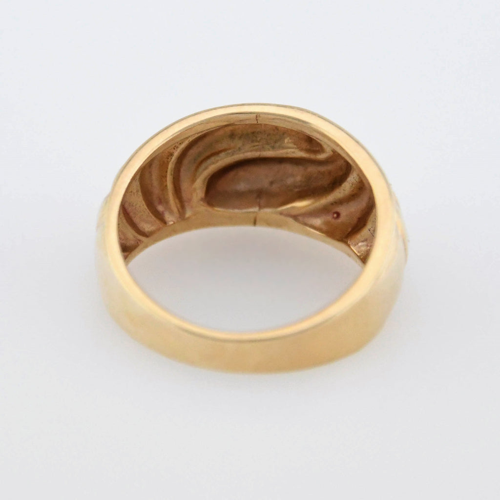 10k Yellow Gold Estate Wide Swirl Dome Band/Ring Size 6.75