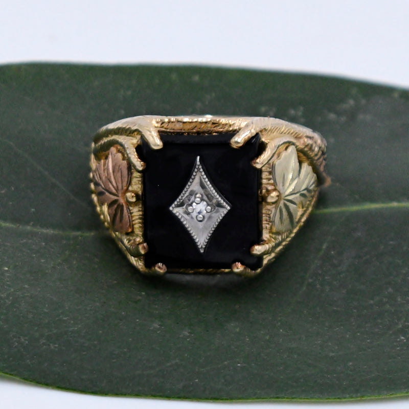 10k Multi Colored Gold Leaf Design Black Onyx & Diamond Ring Size 12