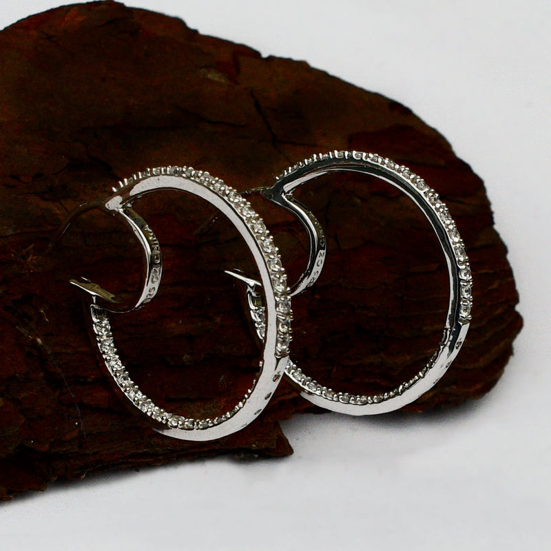 "NEW Sterling Silver 925 Estate Epiphany Hoops/Hoop Earrings 1"" Hoop"