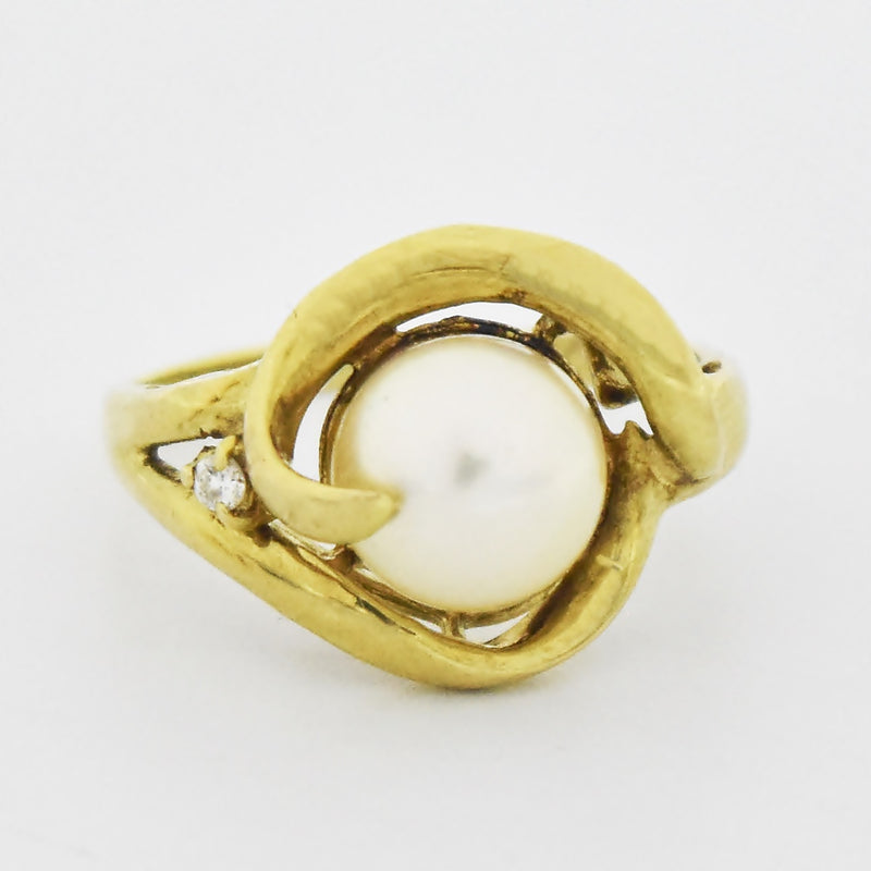 14k Yellow Gold Estate Swirl Pearl Ring Size 7