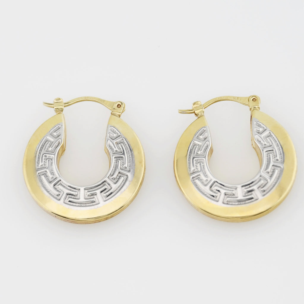 14k Yellow & White Gold Estate Greek Motif Hoops/Hoop Earrings
