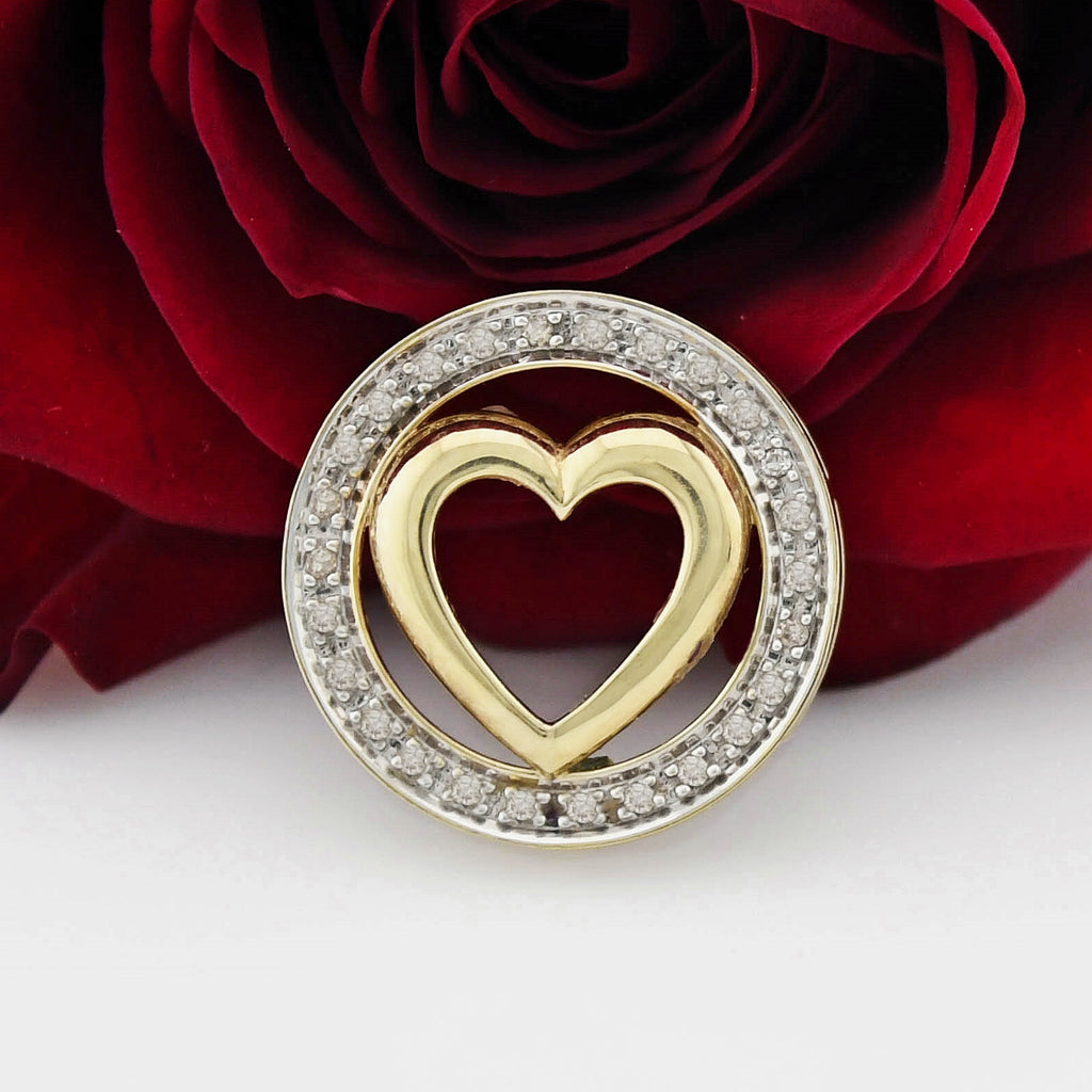 10k Yellow Gold Estate Diamond Circle Heart Pendant