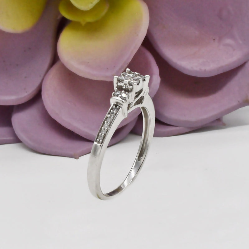 10k White Gold Estate Diamond Engagement Ring Size 6.75