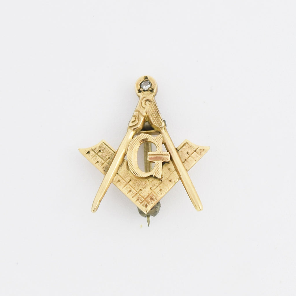 14k Yellow Gold Antique Textured Diamond Masonic Free Mason Pin