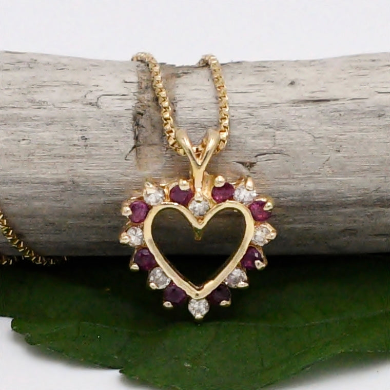 14k Yellow Gold Estate Box Link Ruby & Diamond Heart Necklace 16 1/4""