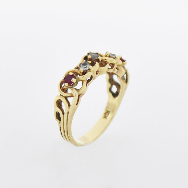 10k Yellow Gold Filigree Multi Colored Gemstone Band/Ring Size 6.75