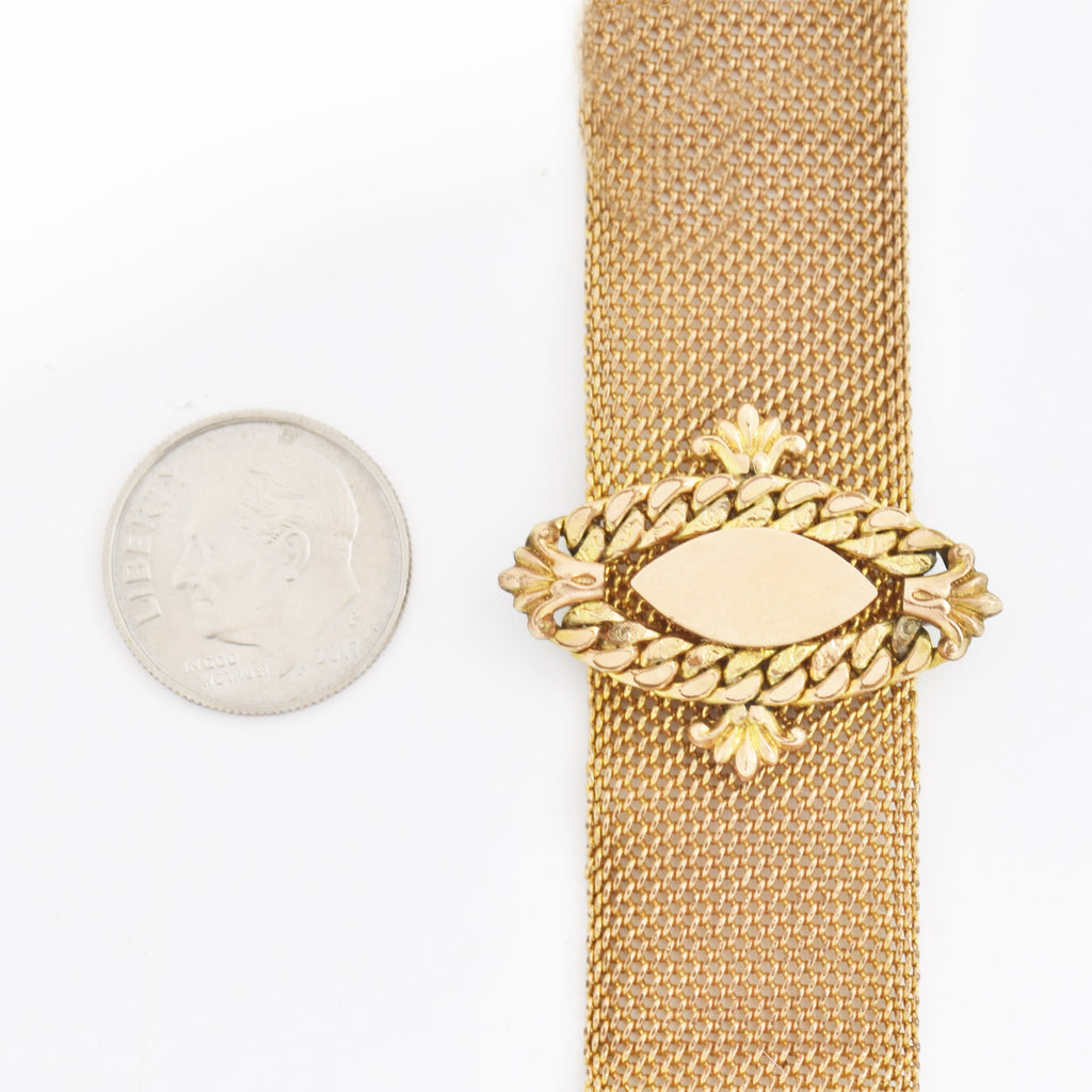"Gold Filled /G.F. Antique Ornate Mesh 4.5"" Watch Fob"