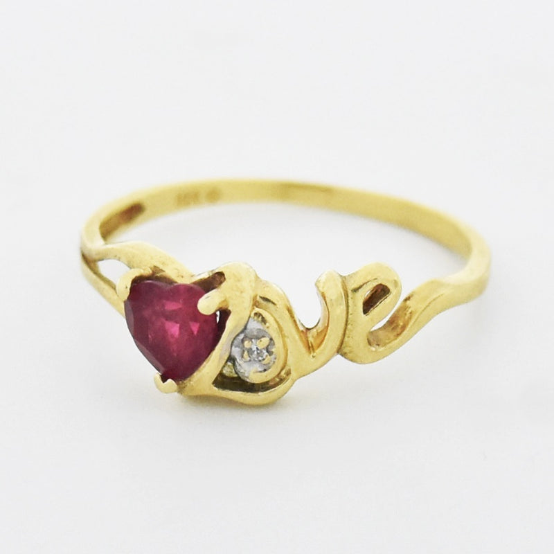 10k Yellow Gold Estate Ruby & Diamond Heart Love Ring Size 8.5