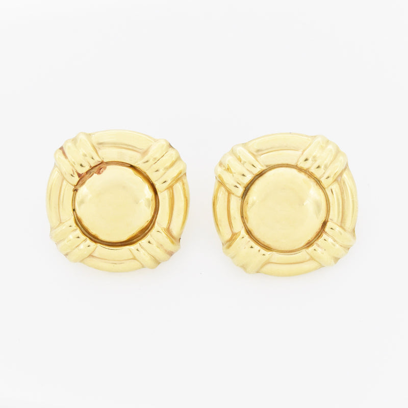 14k Yellow Gold Estate Textured Button/Circle Omega Back Earrings