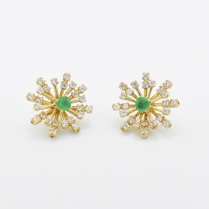 14k Yellow Gold Estate Emerald Post Earrings w/CZ Starburst Enhancers