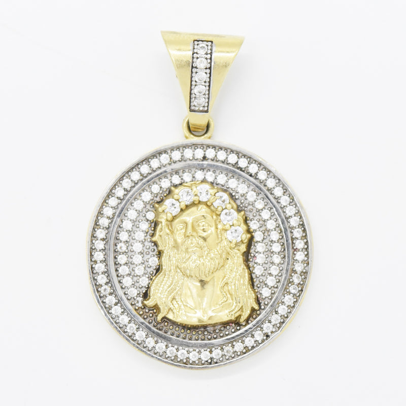 10k Yellow & White Gold Estate White Gemstone Jesus Christ Pendant